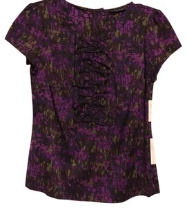 Semantiks Ruffle Silk Print Top Purple
