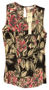 Trina Turk Floral Silk Sleeveless Pink Top Black