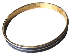 MONET Gold Blue Stripe Bangle