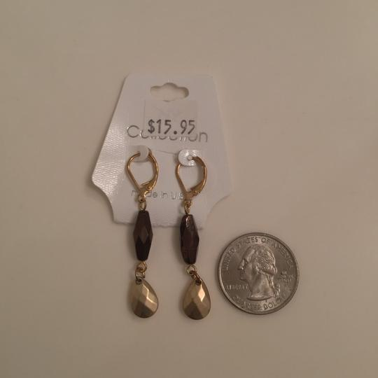 New York & Company Vintage Necklace Earring Set NY Collection Bronze Brown Wood Bead Image 1