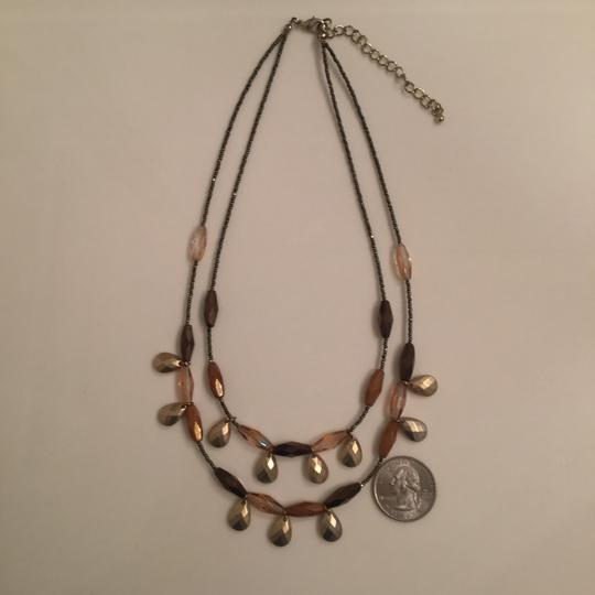New York & Company Vintage Necklace Earring Set NY Collection Bronze Brown Wood Bead Image 4