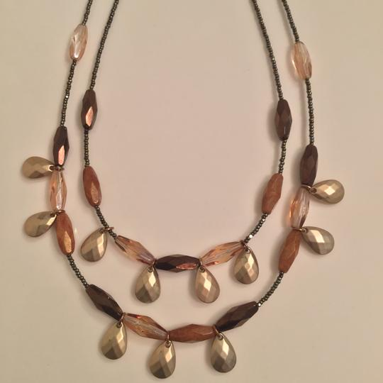 New York & Company Vintage Necklace Earring Set NY Collection Bronze Brown Wood Bead Image 5