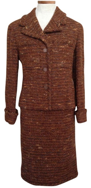 Item - Multicolor Predominantly Brown Tweed Skirt Suit Size 8 (M)