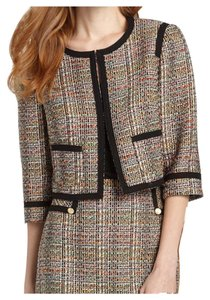 Trina Turk Tweed Black Neon Pink Cream Blazer