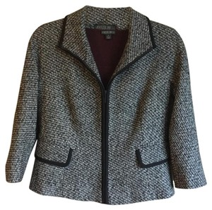 Lafayette 148 New York Wool Cashmere Black Tweed Gray Blazer