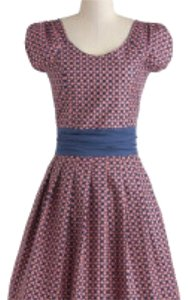 Modcloth short dress Pink Polka Dot Cap Sleeve Belted on Tradesy