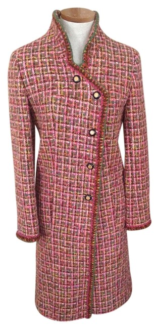 Item - Pink/Green/Brown Boucle Coat Size 4 (S)