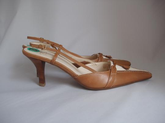 Circa Joan & David Tan & White Pumps