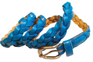 Zulily Skinny Aqua Blue Leather Braid and Rhinestone Belt Size M