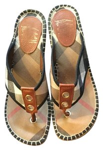 Burberry Sandals T-strap Novacheck Burberry Plaid Wedges