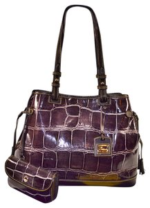 Dooney & Bourke Croco Lg Shopper Accessory Tote in Grey/ Lavender