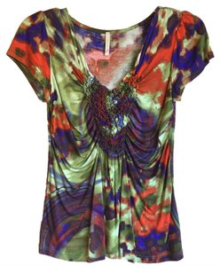 Olivia Moon V-neck Tie Sleeve Orange Green T Shirt Purple