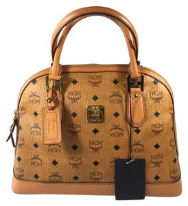 MCM Leather Tote in Tan