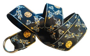 Other D-Ring Belt Black Grosgrain Ribbon Asian Motif 1 1/2 inch Wide