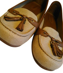Enzo Angiolini Kitten Canvas Leather Loafer Tan and Brown Pumps