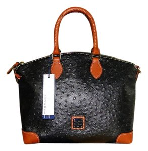 Dooney & Bourke Ostrich Emb Leather Satchel in Black