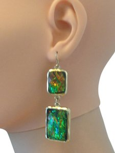 Iridescent green pierced earrings