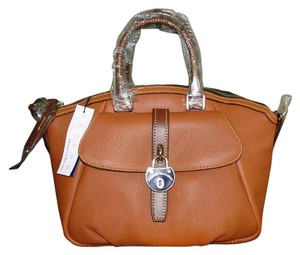 Dooney & Bourke Samba Leather Lock Satchel in Saddle
