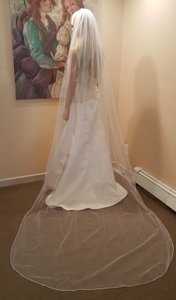 White Rhinestone Edging Cathedral Veil