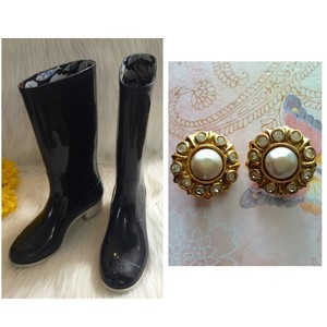 Chanel Rain Tall Black and white Boots