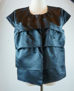 J.Crew Collection Tiered Snap Front Navy Silk Top Blue