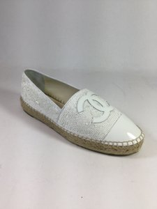 Chanel Espadrilles Sequins White Flats