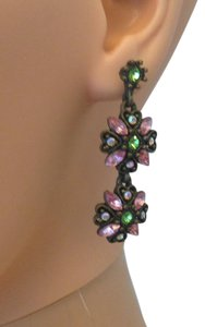 earrings in pink and green