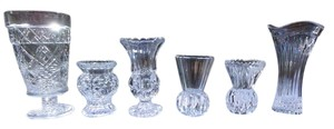 Lot Of 6 Vintage Crystal Bud Vases