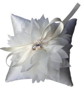 Ivory Satin Bloom Ringbearer Pillow