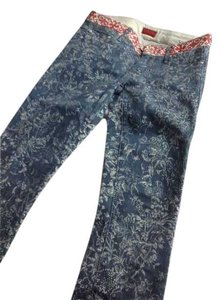Mother Floral Spring Stitching Print Skinny Jeans-Light Wash