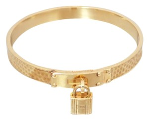 Hermès Hermes H Kelly Bangle Bracelet Gold Beige Lizard