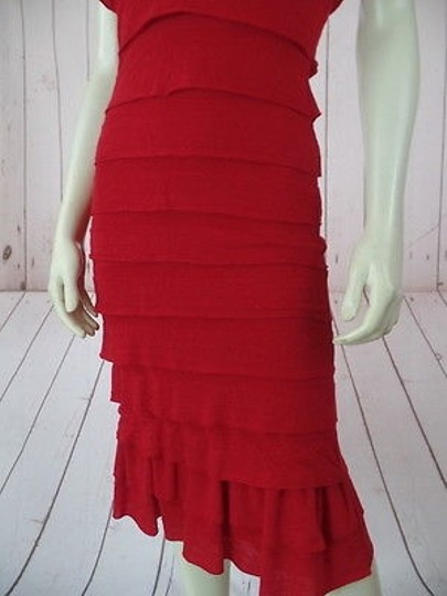 durable service Sophie Max Dress Red Poly Rayon Spandex Fine Sweater Knit Pullover Tiers Rumba
