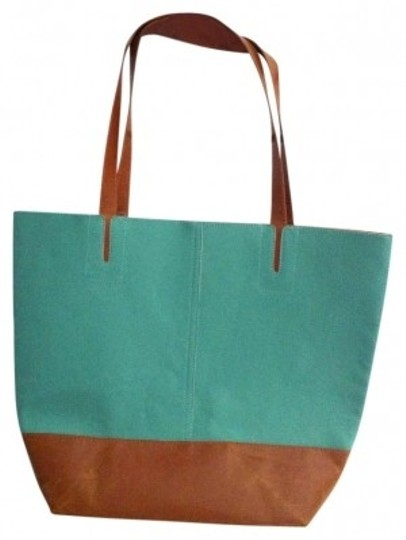 Preload https://item2.tradesy.com/images/nordstrom-teal-and-brown-leather-tote-152301-0-0.jpg?width=440&height=440
