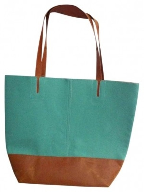 Item - Teal and Brown Leather Tote