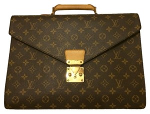 Louis Vuitton Designer Robusto Briefcase Handbag Satchel in Brown Monogram
