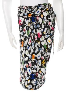 Chanel Overlay Wrap Interlocking Cc Monogram Skirt Black, White, Multicolor