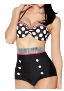 New black white red high polka dot waisted retro bikini swim suit says size medium will for size small also