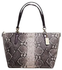 Coach Leather Python Print Tote in Grey/Brown/Beige