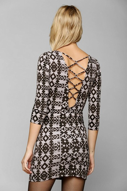 Urban Outfitters short dress Black & White #bodycondress #ecotedress #ivyladderknit #latticebackdress on Tradesy