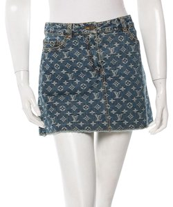 Louis Vuitton Lv Monogram Gold Hardware Mini Skirt Blue, White