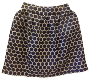 Kate Spade Polka Dot Cotton Striped Skirt Navy Blue, Cream