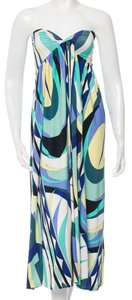 Blue, White, Green Maxi Dress by Emilio Pucci Strapless Maxi Print