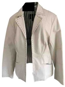 Bernardo Leather Long Sleeve Slant Fully Lined Black Top Stitch White Leather Jacket