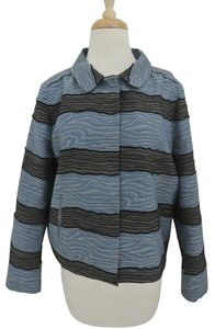 Piazza Sempione Moire Textured Striped Jacket blue Blazer