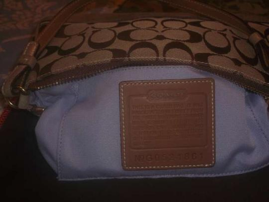Coach Small Hand Small Purse Shoulder Small Wallet Whristlet Monogram ,light brown Clutch