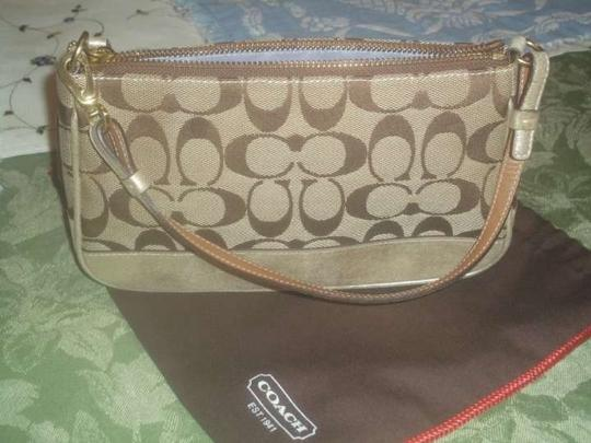 Coach Small Handbag Small Purse Shoulder Small Wallet Whristlet Monogram ,light brown Clutch