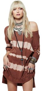 Free People Sz M Pink Sand Combo Oversized Fit Adorable And Comfy Tie Dye Canyon Thermal Tunic