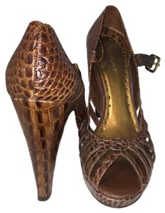 BCBGeneration Leather Woven Heels Mahogany Brown Sandals