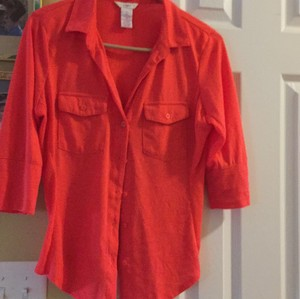 Candie's Button Down Shirt Orange