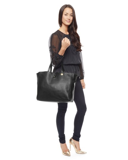 Juicy Couture Leather Wrislet Leather Tote in Black & Reversible Interior Snake Print
